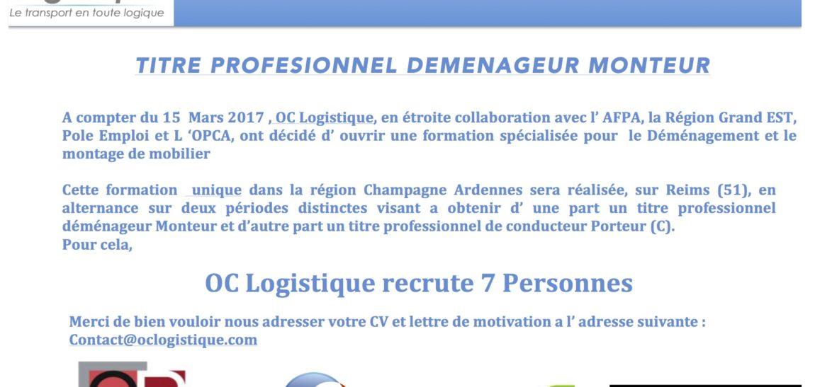 OC LOGISTIQUE organise une formation » Manager Déménageur Monteur»
